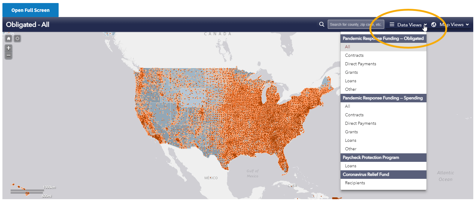 Screen shot of the Funding map showing location of the data views drop-down menu in upper right-hand corner