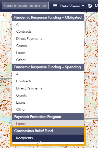 Screen shot of the Funding map showing selection of the Coronavirus Relief Fund map from the Data Views drop-down menu in the top right-hand corner