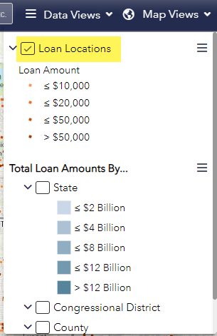 Screen shot of Paycheck Protection Program funding map Map Views drop down menu with Loan Locations selected