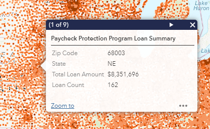 Screen shot of pop-up window on Paycheck Protection Program map showing zip code summary data