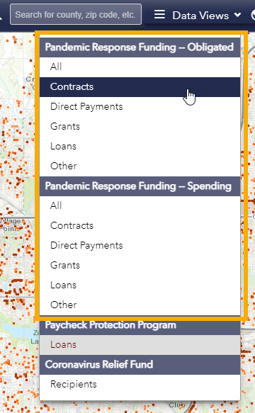 Screen shot of the Funding Map Data Views Drop Down highlighting possible selections for the Pandemic Response Funding map views