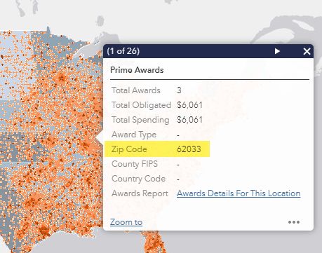 Screen shot of the Pandemic Response Funding map pop up window highlighting the zip code summary information