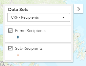screenshot of funding map Data Sets panel showing markers for prime and sub recipients selected