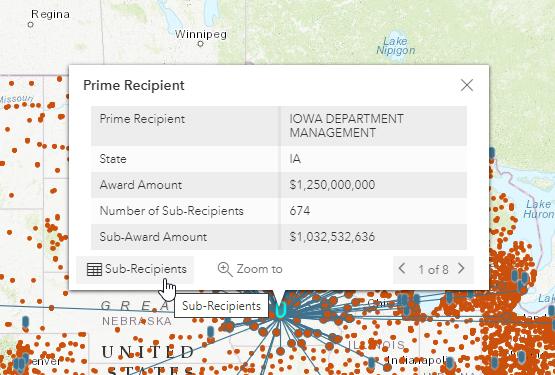 screenshot of coronavirus relief fund loan details pop-up window