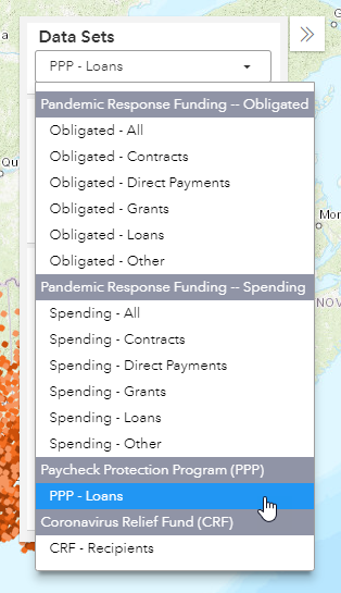 screenshot of user selecting PPP Loans from the data sets panel within the funding map