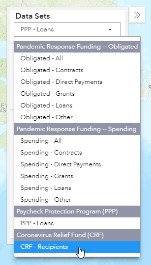 screenshot of user selecting CRF - Recipeints from the data sets panel within the funding map