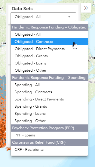 screenshot of user selecting Obligated Pandemic Response Funding Contracts from the data sets panel within the funding map