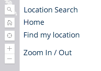 screenshot of left-hand toolbar on the funding map showing location search, home, find my location, and zoom icons