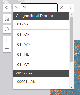screenshot of search box in funding map with search suggestions