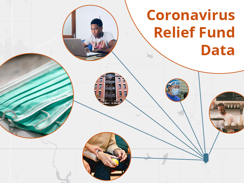 Coronavirus relief fund data and images of funded activities such as PPE purchases and online learning