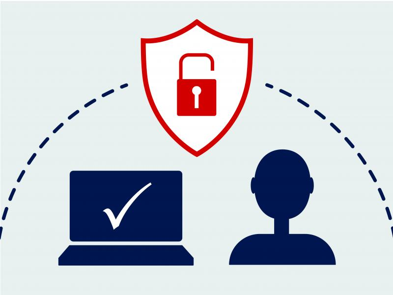 illustration of a computer with a check mark on the screen, a profile of a person, and a shield with an unlocked padlock over them, with a dotted curved line arching over them