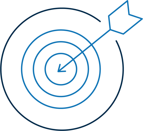 illustration of a bullseye with an arrow in the center